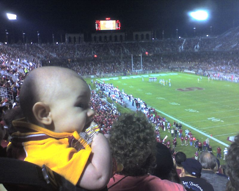 Enjoying His First Trojan Football Game